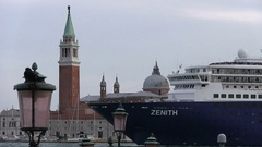 Cruise ship and dove in front of Le Stanze del Vetro in Venice Stock Footage