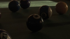 TIme Lapse of Light Moving Across Billiard Balls on Pool Table in 4K Stock Footage
