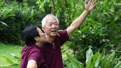 Asian senior couple walking and checking their melon at their backyard garden Stock Footage