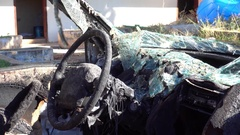 Car cabin after traffic accident with explosion Stock Footage