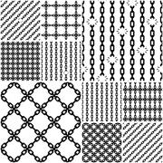 Set of seamless chain patterns with broken links Stock Illustration