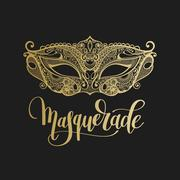 Gold venetian carnival mask with hand lettering Stock Illustration