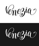 Venezia calligraphy brush lettering text design element Piirros
