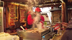 PARIS, FRANCE Christmas and New Year market fastfood stall Stock Footage