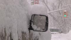 Heavy snow and beautiful blizzard in scenic town of Bracebridge Muskoka Stock Footage
