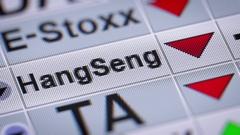 The Hang Seng Index in Hong Kong. Down. Looping. Stock Footage