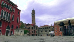 Market place in Venice in Italy Stock Footage