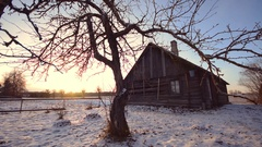 Old Wooden house in Winter Village, Shot with Dolly Slider. Stock Footage