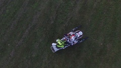 Aerial quad atv and snowmobile freestyle riders try to amp up the crowd 4k Stock Footage