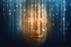 Face in binary code Stock Photos