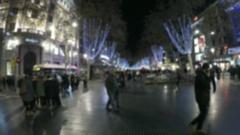 Blurred background - Las Ramblas in Barcelona, Spain Stock Footage