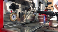 Coffee machine makes and espresso Stock Footage