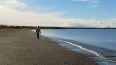Young tourist is walking on black volcanic beach in Reykjavik, smiling blond Stock Footage