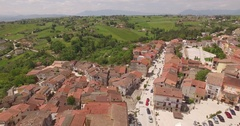 Aerial 4k drone shot above a beautiful small town with buildings Stock Footage