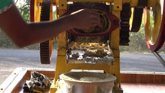 Sugarcane Juice Making with Machine Closeup Freshly Extracted 4K Stock Footage