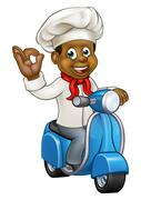 Cartoon Delivery Moped Chef Stock Illustration