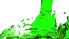Green liquid fills the Screen. Water surface waving. 3D render 4 Stock Footage