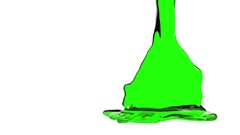 Green liquid fills container. Water surface waving. 3D render 14 Stock Footage