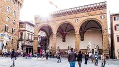 Loggia dei Lanzi in Florence, Italy Stock Footage