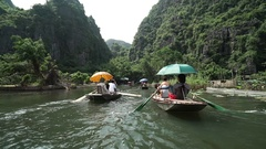 Vietnam, Tam Coc river boats Stock Footage