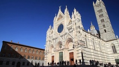 Medieval church Santa Maria Cathedral in Siena Tuscany, Italy Stock Footage