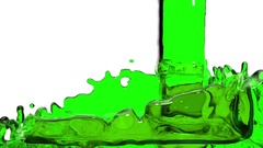 Green liquid fills the Screen. Water surface waving. 3D render 5 Stock Footage