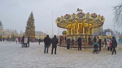 The vintage carousel in the Christmas Fair in Kiev Stock Footage