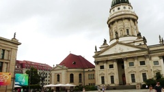 Konzerthaus and French Cathedral in Berlin Stock Footage