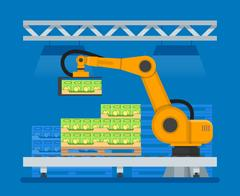 Vector illustration of industrial robots for palletizing food products Stock Illustration