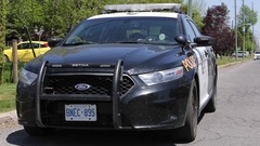 Police cop car at emergency Stock Footage
