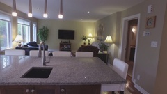 Real estate living room and kitchen island 4k Stock Footage