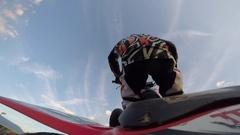 Four wheeler freestyle cordova trick go pro slow motion Stock Footage