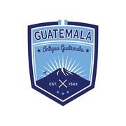 Antigua Guatemala badge with volcano Agua. Patch Piirros