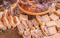 Various and delicious Slovenian desserts Stock Photos