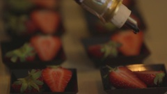 Strawberries with balsamic vinegar Stock Footage