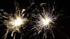 Firework sparkler burning in macro shot Stock Footage