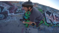 Bmx tailwhip jump trick with amazing angle from go pro Stock Footage