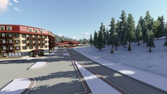 Ski resort with car park. Stock Footage