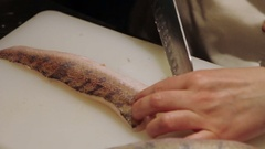 Close up shot of fish cooking Stock Footage