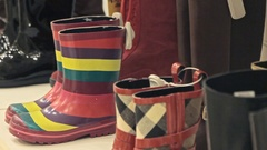 Colorful Rubber Boots Stock Footage