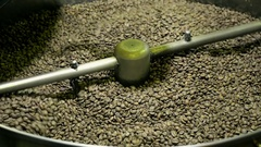 Mixing Coffee Roaster Cooling Down Freshly Roasted Coffee Beans Stock Footage