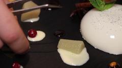 Decoration of dessert in restaurant Stock Footage