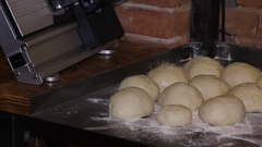 Prepared dough for baking. panorama from left Stock Footage