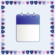 Blank sheet of calendar in a frame of hearts Stock Illustration