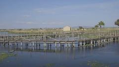 Bridge fishing on a beautiful day Stock Footage