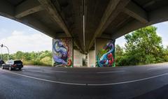Bridge Underpass Perspective Leading Lines Street Outdoors Graffiti Stock Photos