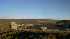 Climate change - burning coal in Australia - fast aerial pan right Stock Footage