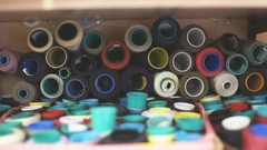 Color bobbins. clothing production Stock Footage