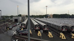 LIRR Long Island Railroad train yard in Queens, New York City. The commuter rail Stock Footage