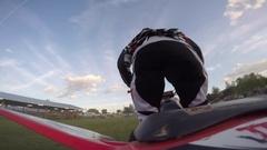 Atv freestyle cliffhanger trick Stock Footage